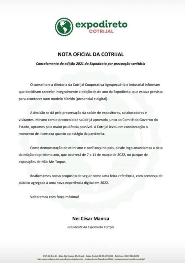 NOTA CANCELAMENTO EXPODIRETO